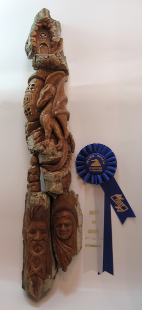 Bark Carving - #25 The Guardian - 73 x 15 cm  (29 x 6 inches)