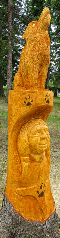 Spruce Carving Woman Spirit Waskesiu 2017 - Detailed View