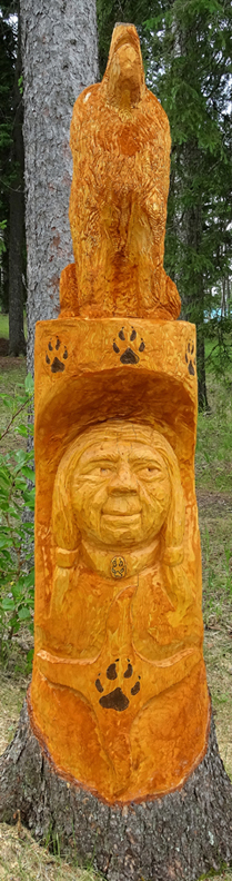 Spruce Carving Woman Spirit Waskesiu 2017 - 214 x 41 cm  (7 ft x 16 in)